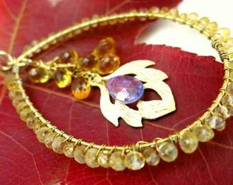 Citrine gold Fall leaf hoop necklace, Thanksgiving citrine gold leaf pendant necklace, Pocahantas leaf gold filled necklace