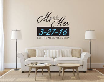 Mr & Mrs with Custom Date Wedding Sign - Mr and Mrs Sign - Mr and Mrs Wall Decal - Mr And Mrs Wedding Sign
