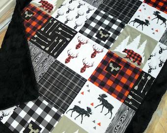 Buffalo Plaid Baby Blanket - Faux Patchwork Quilt - Lumberjack Blanket - Moose Bear Baby Blanket - Lumberjack Nursery - Buck Baby blanket