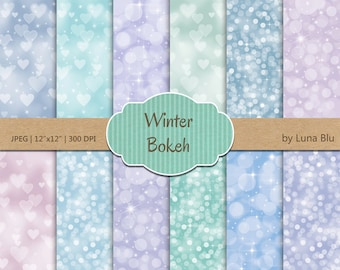 """Bokeh Digital Paper: """" Winter Bokeh Backgrounds"""" pastel bokeh textures, winter digital paper for Personal and Small Commercial Use"""