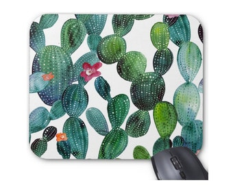 Cactus Flower Mouse Pad, Colorful Green & Teal Desert Print Mousepad