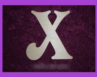 letter X unfinished wooden letter 6 inch tall