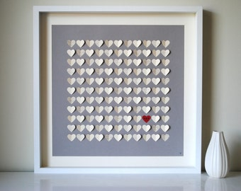 Rustic Wedding Guest Book Alternative - Rustic 3D Song Hearts Guest Book - For up to 120 guests (includes frame, instruction card & pens)