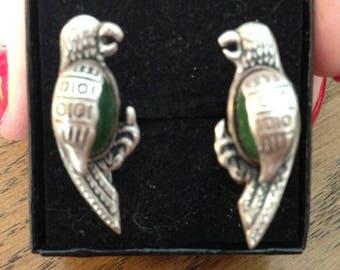 Sterling  Silver and Jade Parrot Screwback Earrings