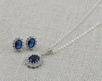 Sapphire Necklace, Montana Necklace, Blue Jewelry set, Blue earrings, Silver jewelry, Silver earrings, Bridal Jewelry Set, Sapphire earrings