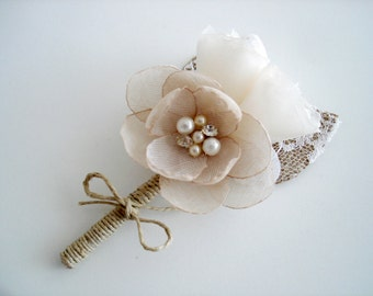 Rustic Boutonniere - Groom Lapel Flower Pin- Burlap Lace Groomsmen Boutineers for Wedding Ivory Champagne