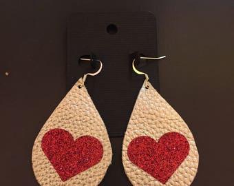 faux leather earrings valentine heart