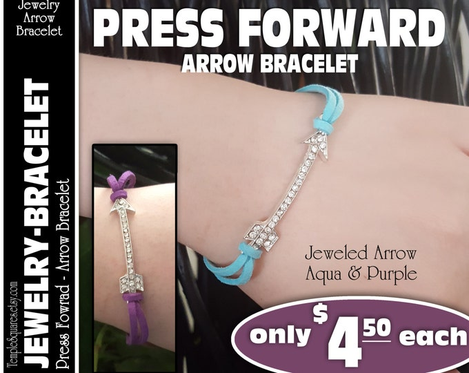 Jeweled Arrow Bracelet - Press Forward YW 2016 theme, gift for secret sister, visiting teaching, releif society, young women, LDS missionary