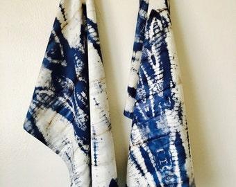 Shibori Blue Kitchen Towel,Set of 2, Kitchen Towels,Tea Towel,Tie Dyed Towels, Cotton Towel,Hand Towels