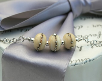 Ivory Lampwork glass bead necklace Sterling Silver chain