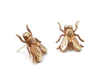 Insect Ear Stud, Insect Earrings, Insect Jewelry, Fly Ear Stud, Gold Earrings, Beetle Earrings, Bug Earrings, Men's Jewelry, Men's Ear Stud