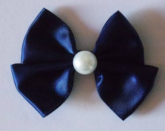 Bow tie in blue and white satin for scrapbooking