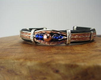 Wire Wrapped, Leather Cuff Bracelet, Christmas Gift, Unique, Black leather wrapped copper bracelet with silver and copper wire