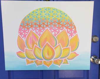 "Sacred Lotus~ original acrylic painting on 28"" x 22"" canvas"