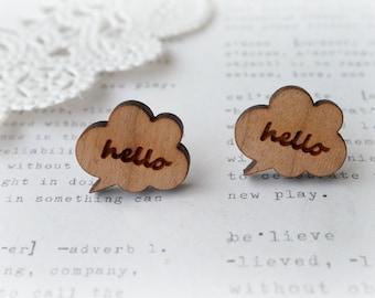 Wooden Hello Speech Bubble Stud Post Earrings