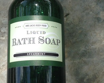 Spearmint Body Wash , Bubble Bath, Organic, All Natural, Bath Soak, Kid Bath Soap, 8 oz