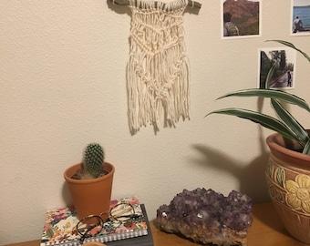 mini yarn + wood macrame