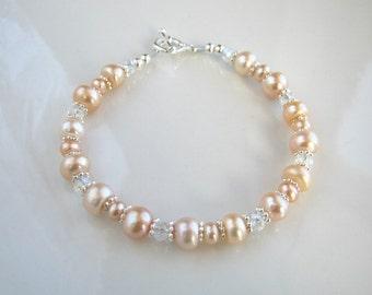 Crystal and Peach Freshwater Pearl Bracelet Peach Pearl Bracelet