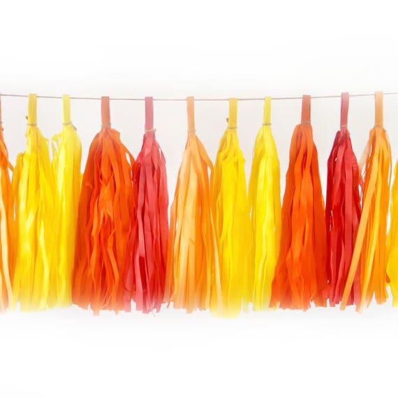Caribbean Sunset Tassels, Tissue Tassels, Tassel Banner, Birthday Party Decor, DIY Tassels, Girl Birthday, Wedding, Baby Shower Beach Orange