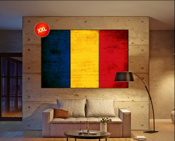 Romania flag canvas wall art art print large  canvas wall art print Romania flag country flag Wall Home office decor interior Office Decor