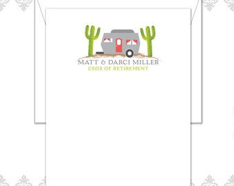 Camper Retirement Stationery Set of 10 with envelopes, Retirement cards, CEO of Retirement, Desert living, retirement gift, cactus notecards