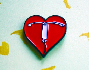 I Heart IUD Enamel Pin - Lapel Pin - Badge - Birth Control - Reproductive Health - Intrauterine Device - Feminist Pin - IUD love
