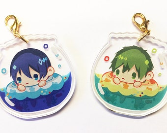 Free Iwatobi Swim Club Haru Makoto Crystal Clear Acrylic Charm, Game Anime Cellphone Strap