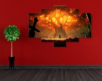 Teldrassil in fire, World Of Warcraft, WoW canvas, Battle for Azeroth, World Of Warcraft art, WoW print, Battle for Azeroth art, Teldrassil