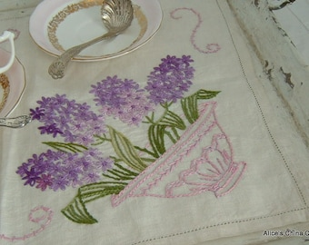 A Beautiful Vintage Tray Cloth Lovely Hand Embroidered Linen Perfect With a Tea Set