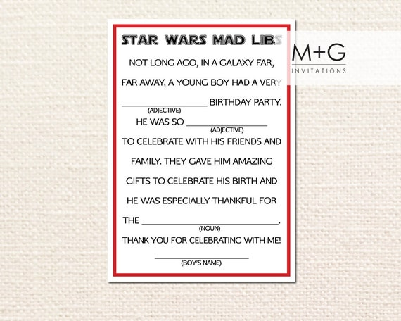 Star Wars Birthday Party Mad Libs Thank You Note Card Digital
