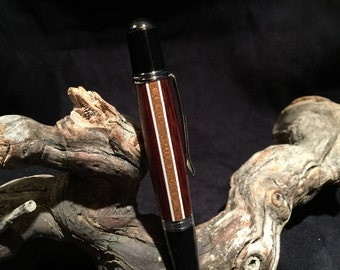 Cocobolo and Mahogany Hand-Segmented and Hand-Turned Ballpoint Pen