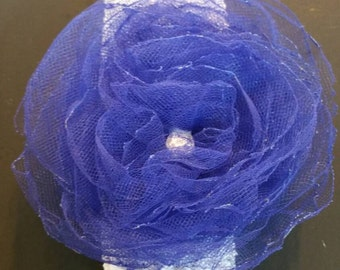 Babys Blue Tulle  Flower Headband,  New Born Headband