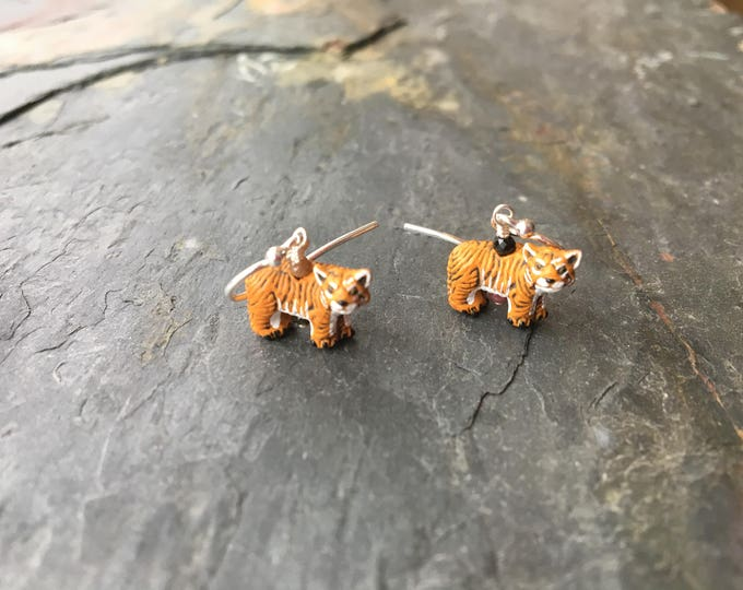 Ceramic Tiger and Tourmaline Littles Earrings Silly Fun Wildcat Orange Gift Healing Chakra Energy Gemstones Inspirational Gift
