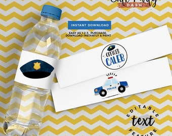 INSTANT DOWNLOAD - EDITABLE Police Birthday decorations Water Labels Cops and robbers printable decorations Police party sign favor tags
