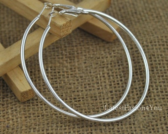 80mm 8cm Silver Plated Big Extra Large Plain Hoop Earrings Studs