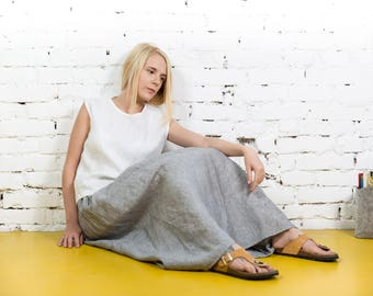 Linen skirt,linen summer skirt,black linen skirt,loose linen skirt, long linen skirt, linen maxi skirt,linen boho skirt,summer skirt/LS0002