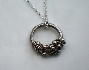 Argntium Silver Tendril Ring Necklace with Sterling Silver Chain