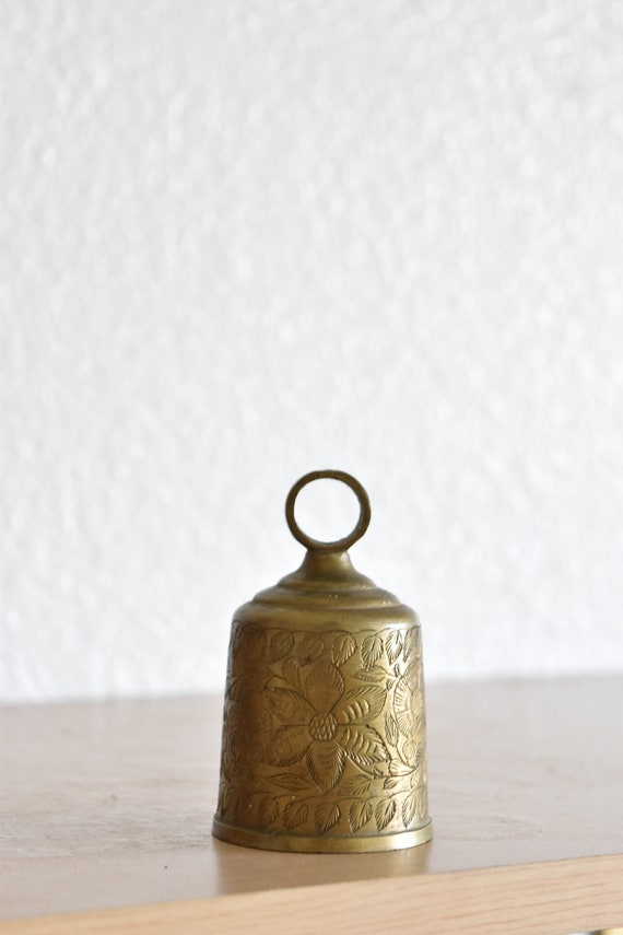 small carved etched brass ringing bell / india / chime