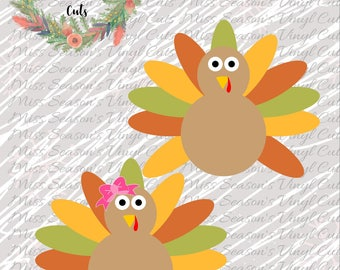 Girl and Boy Turkey Dxf, Eps, Png | Turkey SVG | Turkey with Bow SVG | Silhouette / Cricut Cutting File | Personal & Commercial Use
