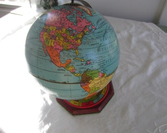 Vintage Metal World Globe on Stand