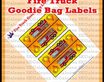 Printable Fire Truck Goodie Bag Toppers or Labels Instant Download DIY