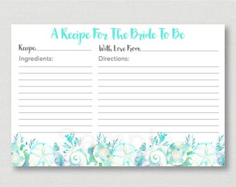 Nautical Beach Bridal Shower Recipe Cards / Beach Bridal Shower / Watercolor Seashells / Nautical Recipe Card / INSTANT DOWNLOAD B103