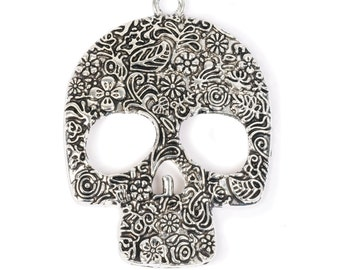 Large Floral Skull Pendant (STEAM228)