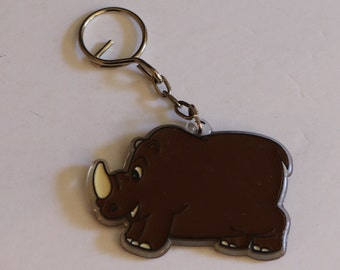 Vintage New Cute Brown Rhinoceros Keychain
