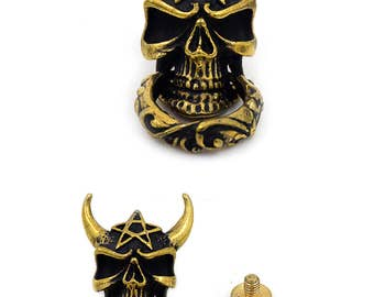 1 pc Antique Brass Skull Head Concho Connector Stud Rivet Screw Back Leather Craft Decorations Findings 21x37 mm. SK  2137 180 Sun