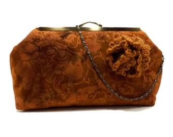 Burnt Orange Steampunk Style Damask Denim Clutch / Shoulder Handbag