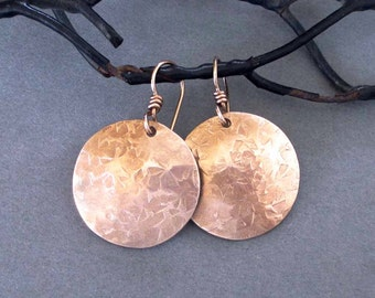 Hammered Bronze Disc Earrings Round Dangle Earrings Metalsmith Handmade Modern 8th Bronze Anniversary Jewelry 14k Pink Gold filled Ear Wires