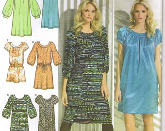 Easy To Sew Gathered Round Neck Dress With Elastic or Banded Sleeves Simplicity Sewing Pattern Size 4 6 8 10 12