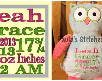 Custom Birth Announcements for Machine Embroidery