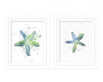 Watercolor Print Set of 2  - Watercolor Bathroom Prints - Watercolor Starfish - Watercolor Prints - Art Prints - Coastal Wall Art - Prints